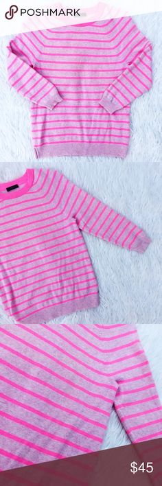 """• J. Crew • Pink Cashmere Sweater Gorgeous Italian cashmere pink striped sweater! Picture three shows two tiny holes. Perfect for layering this season! Would look great with denim. 3/4"""" sleeve. J. Crew Sweaters"""