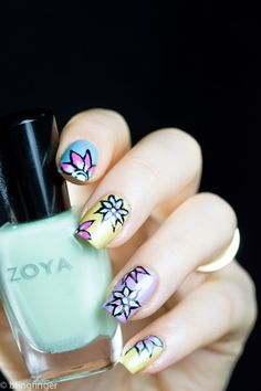 Nail Art with Zoya Delight Collection for Spring 2015. http://www.blingfinger.net/2015/02/zoya-delight-nail-art.html