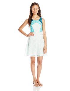 love, FiRE Junior's Color Block Lace Dress, Mint, Medium