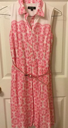 Nine West Womens 6 Sleeveless Cotton Button Down Pink Floral Dress..new Without  #NineWest #ShirtDress