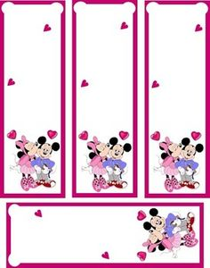 Mickey & Minni 1 Bookmarks, coloring pages, valentines, treat boxes, heart crafts, frames and more-free