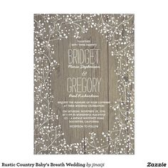 Rustic Country Baby's Breath Wedding 5x7 Paper Invitation Card