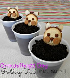 Groundhog's Day Pudding Treat (Punxsutawney Phil_ on MyRecipeMagic.com. These are so fun for the kids on Groundhog's Day!!