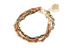 Bracelet chaîne Majique  Cordelette noire et rouge Piece/médaillon dorée Finition dorée Longueur réglable  http://www.majiquejewellery.fr/summer-2014-collection/bracelets/fb31873-61637.aspx