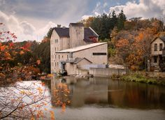 The Elora Mill Inn and autumn leaves reflected in the Grand River. Unique Wedding Venues, Pictures To Paint, Oh The Places You'll Go, Day Trips, Beautiful Pictures, Coast, In This Moment, Rustic, Mansions