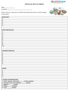 The Admin Bitch Download Free Potluck SignUp Sheet Template
