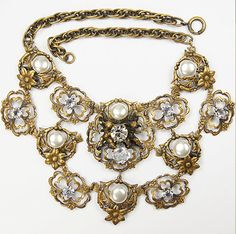 JOSEFF (of Hollywood) Scrolled Flowers, Cherubs, Mabe Pearls & Diamante Necklace
