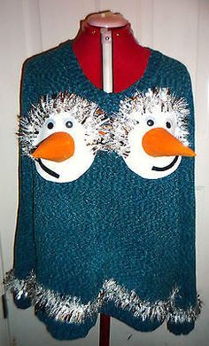 women's funny tacky UGLY CHRISTMAS SWEATER * Size XXL ( 20 ) *