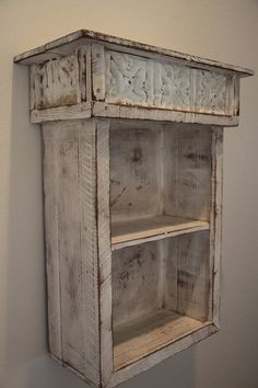 Primitive bookshelf, Wall shelf, French Country bookcase, Shabby style wall shelf, Antique style book case
