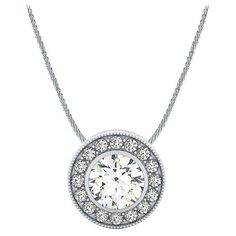 .16ctw Bezel Set Halo Gallery Diamond Pendant Necklace Setting in 18k... ($799) ❤ liked on Polyvore featuring jewelry, diamond jewellery, white gold jewellery, chain jewelry, white gold diamond jewelry and diamond pendant