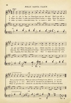 Vintage Printable - Christmas Sheet Music - Santa | Christmas ...