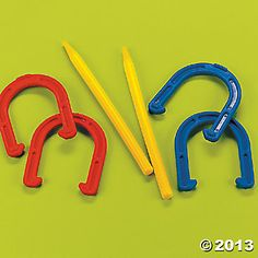 Happy To Play! Kids will love playing with these lucky horseshoes! Durable yet not too heavy, this game makes a great activity at a ba. Horseshoe Game, Lucky Horseshoe, Wild West Theme, Backyard Birthday Parties, Murder Mystery Games, Cowboy Party, Vacation Bible School, Picnic In The Park, Gross Motor