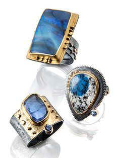 Sydney Lynch - Boulder opal, azurite in granite, sapphire, Tanzanite, sterling, 18k and 22k. Photo: Alan Jackson