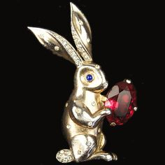 Trifari Sterling 'Alfred Philippe' Spangled Rabbit with Ruby Easter Egg Pin