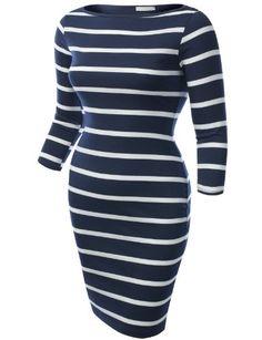 J.TOMSON PLUS Womens 3/4 Sleeve Boatneck Dress Plus Size NAVY WHITE XX-LARGE