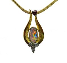 Black Opal and Diamond Pendant - The Goldsmiths & Silversmiths Co. Collection