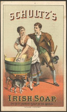 Vintage Labels Schultz's, Irish soap, The best laundry soap in the world - Victorian advertising card, ca. Vintage Labels, Vintage Ephemera, Vintage Cards, Vintage Signs, Vintage Postcards, Vintage Advertising Signs, Advertising Poster, Vintage Advertisements, Vintage Patterns