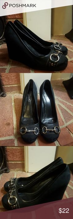 Black Wedge Coach Loafers Size 8 Black loafers with silver hardware. Coach Shoes Wedges