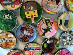 Baby food jar lid alphabet magnets - you can totally make this from any lid.
