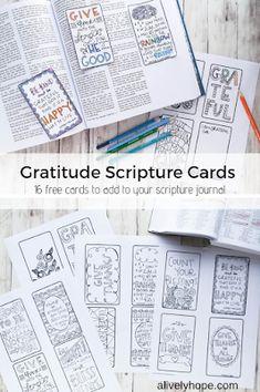 A Lively Hope: Gratitude Scripture Journal Cards Scripture Crafts, Scripture Study, Scripture Journal, Gratitude, Mantra, Quotes Arabic, Lds Scriptures, Bible For Kids, Bullet Journal