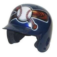 Airbrushed ball over crossed bats helmet