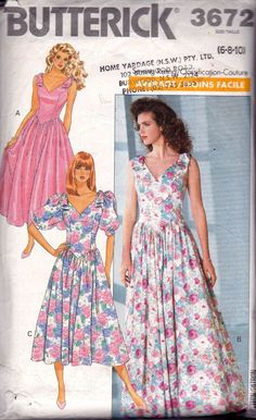 Butterick 3672 Vintage Sewing Pattern V Neck Full Skirt Evening Bridesmaids Dress Size 6 8 10 Bust 30 31 32 inches Skirt Patterns Sewing, Vintage Dress Patterns, Clothing Patterns, Vintage Dresses, Vintage Outfits, Vintage Fashion, Vintage Clothing, 80s And 90s Fashion, Club Fashion