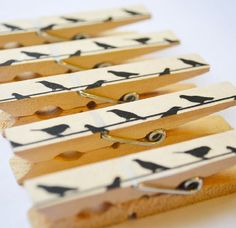 Birds On A Wire Washi Tape Clothes Pins
