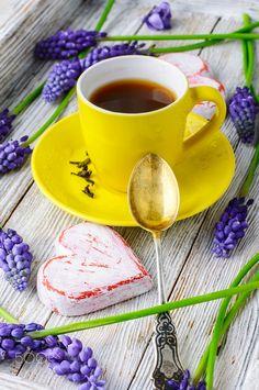 Tea and hyacinths by Mykola Lunov on Fresh Coffee, I Love Coffee, Coffee Break, My Coffee, Coffee Time, Morning Coffee, Tea Time, Coffee Cups, Tea Cups