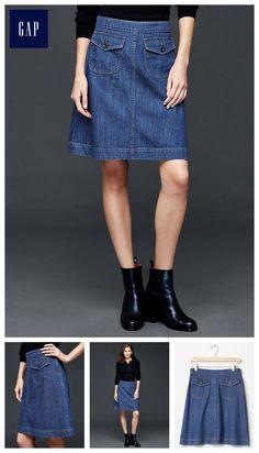 1969 denim flap pocket skirt