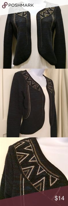 Geometric Beaded Knit Blazer Super cute blue and black knit blazer–style cardigan with geometric beading around the neck and front/sides. Good condition with a few tiny snags on sleeves (see last pic). True colors show in the last few pics. American Eagle Outfitters Sweaters Cardigans
