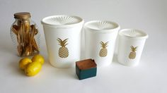 Customized Vintage Tupperware Canisters with Gold by louloumint