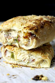 This is the legit real recipe for the Costco Chicken Bake. The source is Costco Wholesale themselves. Healthy Freezer Meals, Freezer Cooking, Easy Meals, Cooking Tips, Costco Chicken Bake, Baked Chicken Recipes, Chicken Calzone, Calzone Recipe, Winner Winner Chicken Dinner