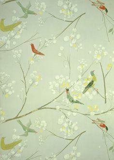 Bird Pattern Wallpaper by Luise Delefant (Circa 1955) The Oman and Hamilton wallpaper