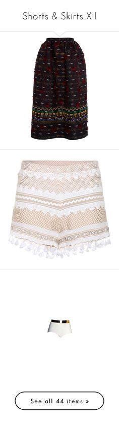 """""""Shorts & Skirts XII"""" by kaidykeeks ❤ liked on Polyvore featuring skirts, navy, high-waisted skirts, mid calf skirts, midi skirt, high-waist skirt, embroidered skirt, shorts, neutrals and beige shorts"""