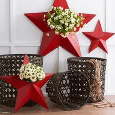 Patriotic Star Shaped Wall Pockets, Set of 3