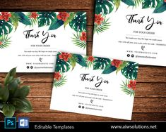 flower and green leaf thank you Cards, thank you Notecards,thank you card for online shop,Tropical Leaf card, botanical style #Postcard #ThankYouCard #CuteThankYouCard #OrderThankYouCard #CardForShop #CardTemplate #ThankYouCards #WordTemplate #WeddingThankYou #BusinessMarketing Cute Thank You Cards, Leaf Cards, Tropical Leaves, Photoshop Tutorial, Wedding Thank You, Label Design, Green Leaves, Note Cards, Craft Supplies