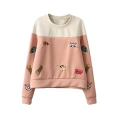 ROMWE Cartoons Print Color Block Light-Red Sweatshirt ($32) ❤ liked on Polyvore featuring tops, hoodies, sweatshirts, sweaters, shirts, color block sweatshirt, comic shirts, block shirt, color block tops and cartoon shirts