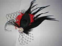 Peacock Feathered Hair Fascinator, Bridal Hair Accessories, Peacock Hair Fascinator, Gothic Bride Hair Accessories