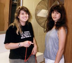 Chaz Bono and Jennifer Aniston in 1987 at the High School of Performing Arts at LaGuardia High School in New York City
