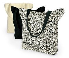 DII 100% Cotton, Machine Washable  Heavy Duty Canvas Reusable Shopping Tote Bag, Natural and Black Damask, Set of 3 DII http://www.amazon.com/dp/B00QGQAA2U/ref=cm_sw_r_pi_dp_ED.Pvb0E1K53E