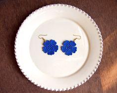 Lace Earrings - Bright Blue Floral Earrings