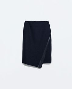 ZARA - WOMAN - SKIRT WITH FAUX LEATHER APPLIQUE