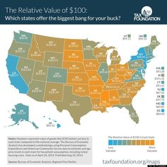 """""""Here's What $100 Is Worth In Each State"""" - the relative value of $100 in each state. #economy"""