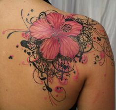 the flower isn't for me, nor would i do a color tattoo, but i love all of the scrollwork around it