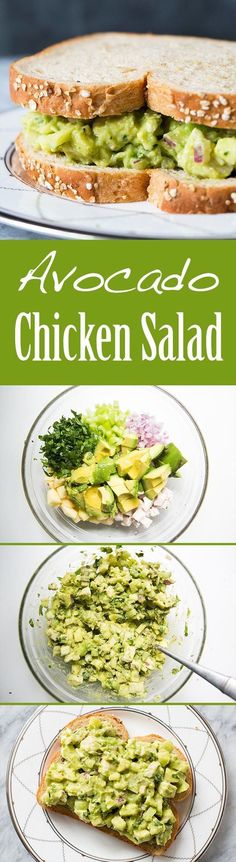 EASY and Healthy! Avocado chicken salad with avocado, chopped cooked chicken, apple, celery, and onion. No Mayo! On http://SimplyRecipes.com