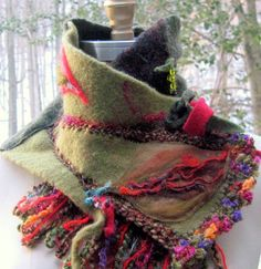 Cashmere wool patchwork SCARF / NECKWARMER / Wrap. Embellished with felted…