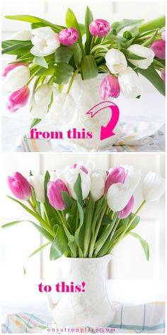 If you are wondering how to fix drooping tulips there is one simple trick that will do the job. Includes tips for arranging tulips as well! Exotic Flowers, Fresh Flowers, Beautiful Flowers, Cut Flowers, Purple Flowers, Wild Flowers, Flower Arrangements Simple, Vase Arrangements, Centerpieces
