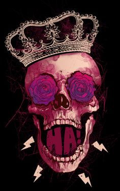 skull / crown / lightning bolts / purple / pink / magenta / fuchsia / black / maroon / burgundy / brown