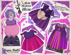 Mad Madam Mim paper doll by Cory Jensen Digimon, Imprimibles Toy Story Gratis, Papercraft Anime, Creepy Disney, Disney Paper Dolls, Disney Evil Queen, Disney Divas, Disney Inspired Fashion, Harry Potter
