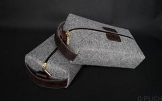 Cosmetic Bag / Travel Bag / Felt & Waxed Leather Toiletry Bag /Coffee Leather Dopp Kit for Men or Women /Groomsmen Gift bag /Personalization by OplichLeatherGoods on Etsy